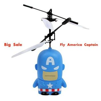 MJDTOYS X52 Captain Amerika Induction Fly Toys Remote Control RC Helicopter Flying Quadcopter Drone Toy Fairy Doll Best Gifts
