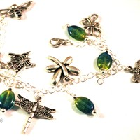 Dragonflies, Butterflies and Bees Charm Bracelet with Blue Green Drop Beads