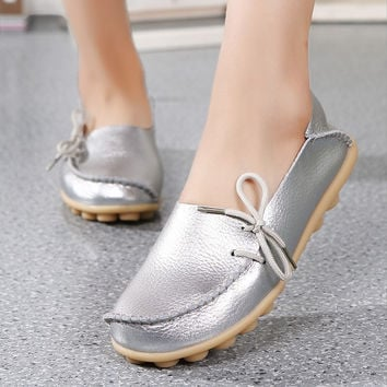 7 Colors Spring Women Genuine Leather Flat Gommino Moccasin Loafers Casual Ladies Slip On Cow Driving Fashion Ballet Boat Shoes
