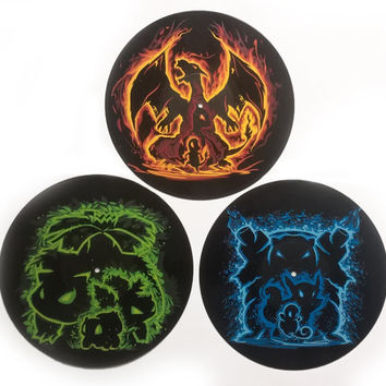 Pokemon Painting - Set of 3 Hand Painted Pokemon evolutions - Pokemon painted on vinyl records