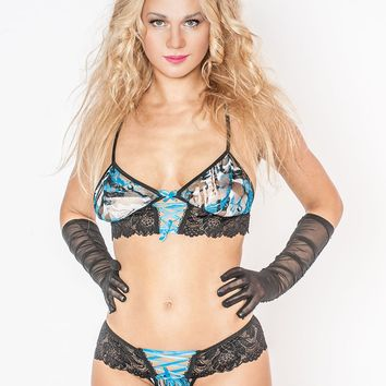 Lace Up Bra and Panty Set