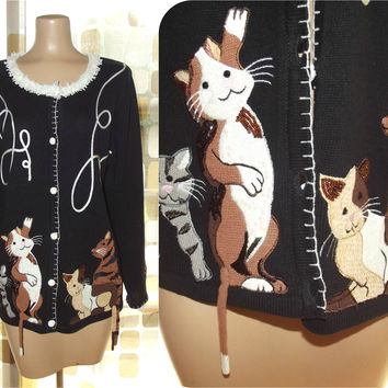 Vintage Quacker Factory Cat Sweater | Crazy Cat Lady Cardigan | Novelty Cat Sweater | Oversized Cardigan | Sequin Beaded Cats Kittens | Med