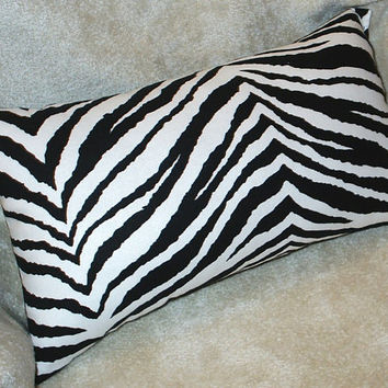 Black and White Tiger Animal Print Lumbar Pillow Cover - Available In 3 Sizes