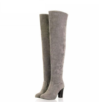 Womens Fashion Boots  New Winter Over The Knee Boot Round Toe Vintage High Heel Lady Women Shoes Zipper Cotton Fabric Boats