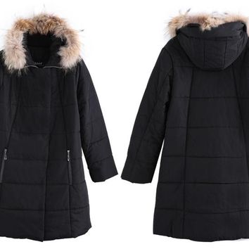 puffy plus size hoodie coat Winter Warm Down cotton hoody Jacket Women Slim Long Cotton Outerwear Hooded Fur collar Black Overcoat