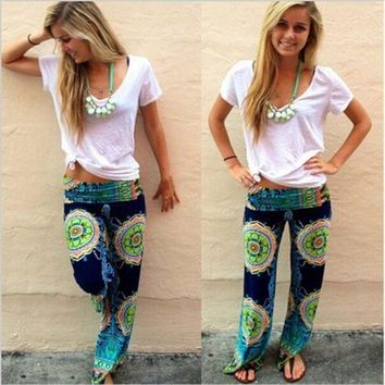 CREYC8S New Women Casual Boho Floral Harem Yoga Running Loose Long Pants Trousers