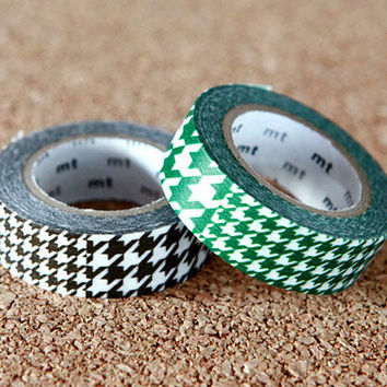 Houndstooth Green & Brown, Japanese Washi Paper Masking Tape, 2 Rolls Set, mt Deco, Scrapbooking, Cute Collage, Wrapping, Decor Art Sticker