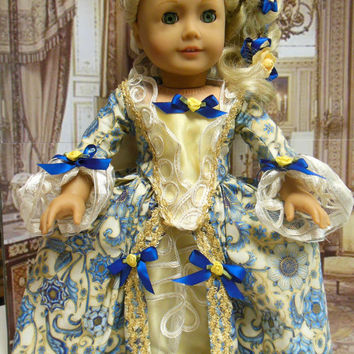 "Historical American girl doll clothes ""Gilded Florentine"" (18 inch doll) revolutionary, Marie Antionette  Felicity  Caroline Elizabeth"