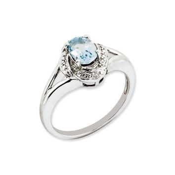 Sterling Silver .01 Ctw (H-I, I2-13) Diamond & Oval Aquamarine Ring