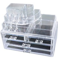 MJartoria Acrylic Jewelry and Makeup Storage Display Boxes Two Pieces Set