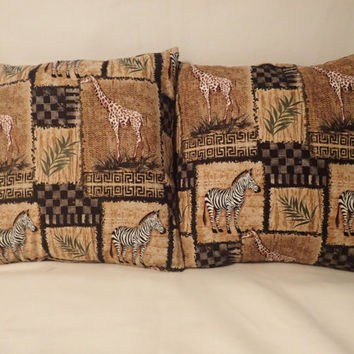 Decorative Pillow Cover, Throw pillow Cover Single 18 x 18, African Safari, Giraffe, Zebra, African Animals, Plains, Ferns,