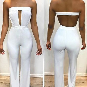 White Bandeau Cut Out Elastic Waist Long Jumpsuit