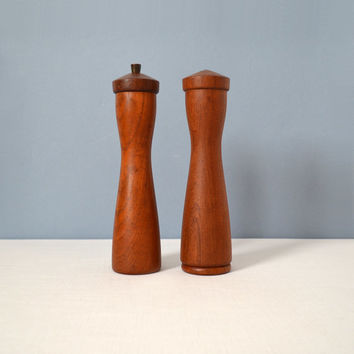 Vintage Danish Modern Illums Bolighus Large Teak Pepper Mill and Salt Shaker