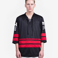 Hockey Mesh Jersey in Black/Red