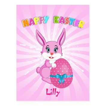 Pink Easter Bunny Cartoon Postcard