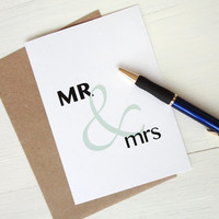 Wedding gift MR & mrs greeting card green ampersand anniversary invitation engagement