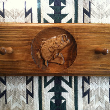 Wall Mount Hat Rack - Large Mouth Bass - Fisherman - Outdoorsman - Carved Wood - Rustic Hat / Coat Hook - Cabin Decor