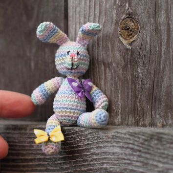 Bunny Crochet miniature rabbit with butterflies. Multicolored pastel bunny, Easter keepsake