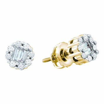 14kt Yellow Gold Womens Round Baguette Diamond Cluster Screwback Stud Earrings 1/4 Cttw