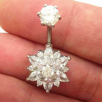 Sexy belly button rings CZ Austrian Crystal Flower style 316l Steel belly piercing Fashion Body Jewelry