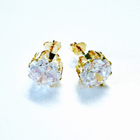 Cz 18kts Gold Plated Earrings Studs
