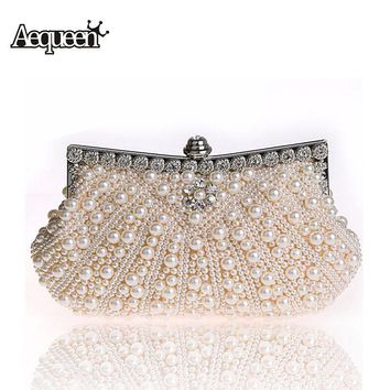 Fashion Women Evening Bags Faux Pearl Bead Rhinestone Day Clutches Female Wedding Bridesmaid Party Banquet Charm Chains Handbag
