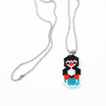 Penguin On Ice Cube Charm On Silver Tone Small Ball Chain Necklace