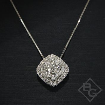 Ben Garelick 1.00 Carat Cushion Shaped Diamond Cluster Halo Pendant