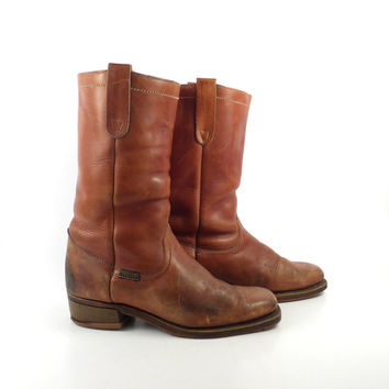 Campus Leather Boots Vintage 1970s Wrangler Carmel brown Cowboy Women's size 8 1/2