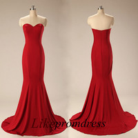 Red Elegant Restival Charming Mermaid Evening Dress Backless Zipper Custom