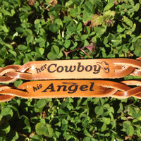 Pair of Cowboy Angel Bracelets by SixShooterLeather on Etsy