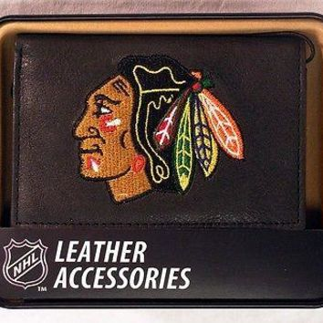 Chicago Blackhawks NHL Embroidered Leather Trifold Wallet NEW in Gift Tin