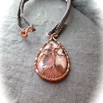 Tree of Life Rhodochrosite Tear Drop Gemstone Wire Wrapped Copper Micro Macramé Cotton Necklace Wicca Boho Shaman UK Made