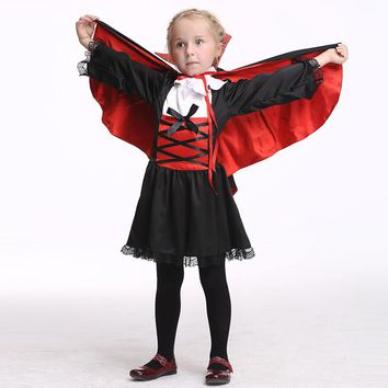 Halloween Girls Vampire Queen Cosplay Dresses Set Clothing For Girl Fancy Party Dress Children Costumes Kids Clothes Outfits Set