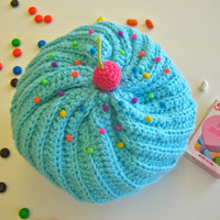 Cupcake Hat With Sprinkles in Aqua Frosting and Chocolate Cake - Ready To Ship - Size 5T-Pre-Teen