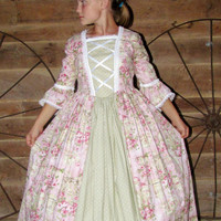 WeHaveCostumes Historical Handmade Modest American Colonial Pioneer Girl -Pink Roses Colonial Ball Gown- Child Sizes up to 14