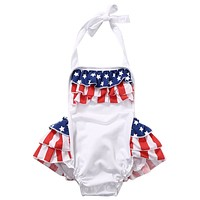 Summer Backless Toddler Baby Girls Tutu Romper national flag Jumpsuit Outfits Clothes