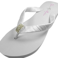 Bridal Flip Flops with Emerald Cut Jewel on Ivory or White Wedges