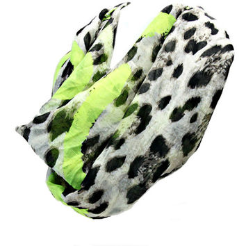 Women's Neon Green Leopard Printed Infinity Spring Summer Scarf