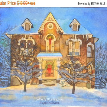 Gingerbread House Watercolor Print. Gingerbread painting. Christmas painting. Gingerbread picture. Gingerbread artwork. Christmas decor.