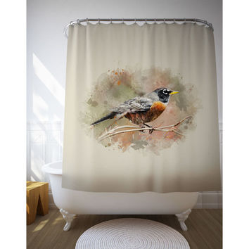 Bird Illustration Shower Decor, Bird Bath Curtains, American Robin, Watercolor Art