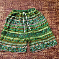 20 inch Simi Unisex Shorts For Summer Fashion Art Ethnic Print Boho Beach Hippies Hipster Clothing Aztec Bohemian Ikat Festival men in Green