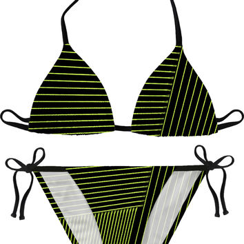 Black and canary green, yellow geometric pattern bikini, swim suit