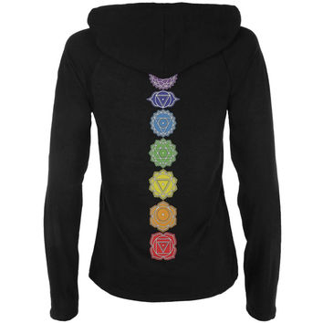 Color Your Chakras Juniors Half-Zip Pullover Hoodie