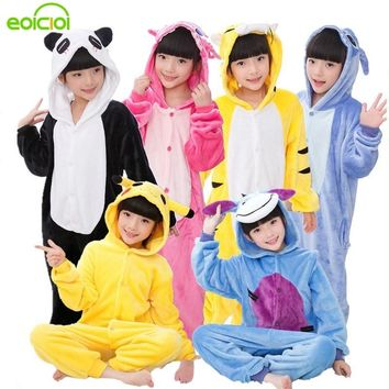 EOICIOI Kids Pajamas For Boys Girls Sleepwear Onesuits Flannel Animal Stitch Unicorn Pegasus Cosplay Hooded Children Pajamas Set