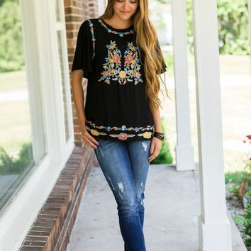 Eva Embroidered Floral Top
