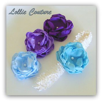 Garter with fabric flowers, glass pearls and custom colors - 1 pc