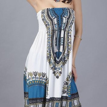 Casual Smocked Bodice Strapless Shift Dress In Tribal Printed