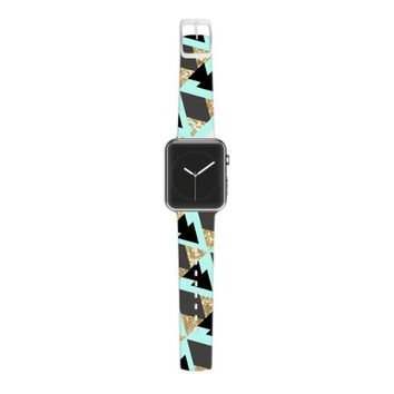 KESS InHouse Nika Martinez 38mm Strap for Apple Watch Band - Non-Retail Packaging - Glitter Triangles in Gold and Teal/Blue Brown