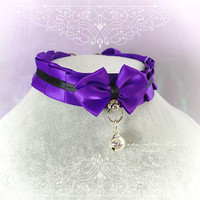 Kitten Pet Play Collar BDSM Choker Necklace Royal Purple Black Satin O Ring Bow Bell kitty Jewelry pastel goth Lolita DDLG